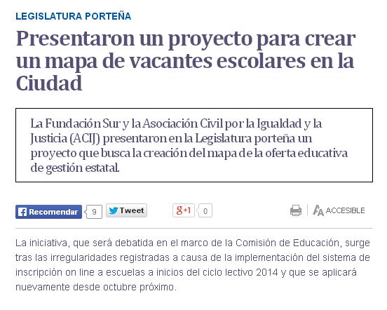 Presentaron un proyecto para crear un mapa de vacantes escolares en la Ciudad