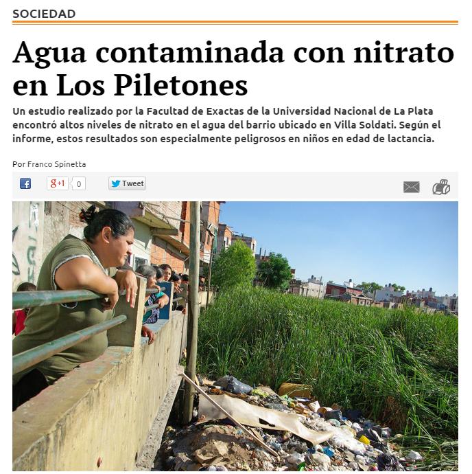 Agua contaminada con nitrato en Los Piletones