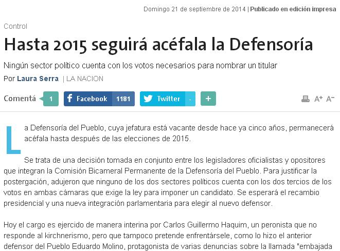 Hasta 2015 seguirá acéfala la Defensoría
