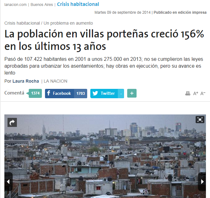 La población en villas porteñas creció 156% en los últimos 13 años
