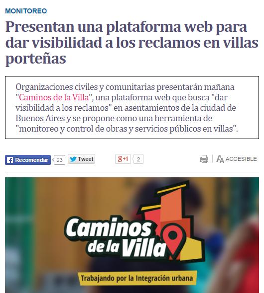 Presentan una plataforma web para dar visibilidad a los reclamos en villas porteñas