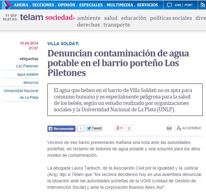 Denuncian contaminación de agua potable en el barrio porteño Los Piletones