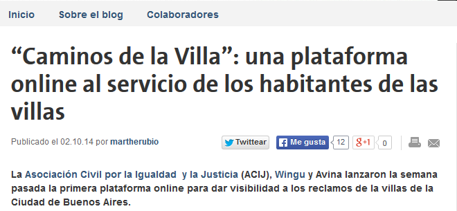 """""""Caminos de la Villa"""": una plataforma online al servicio de los habitantes de las villas"""