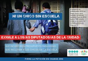 Flyer campaña NI UN CHICO SIN ESCUELA peticion change