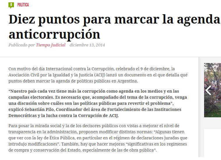 Diez puntos para marcar la agenda anticorrupción