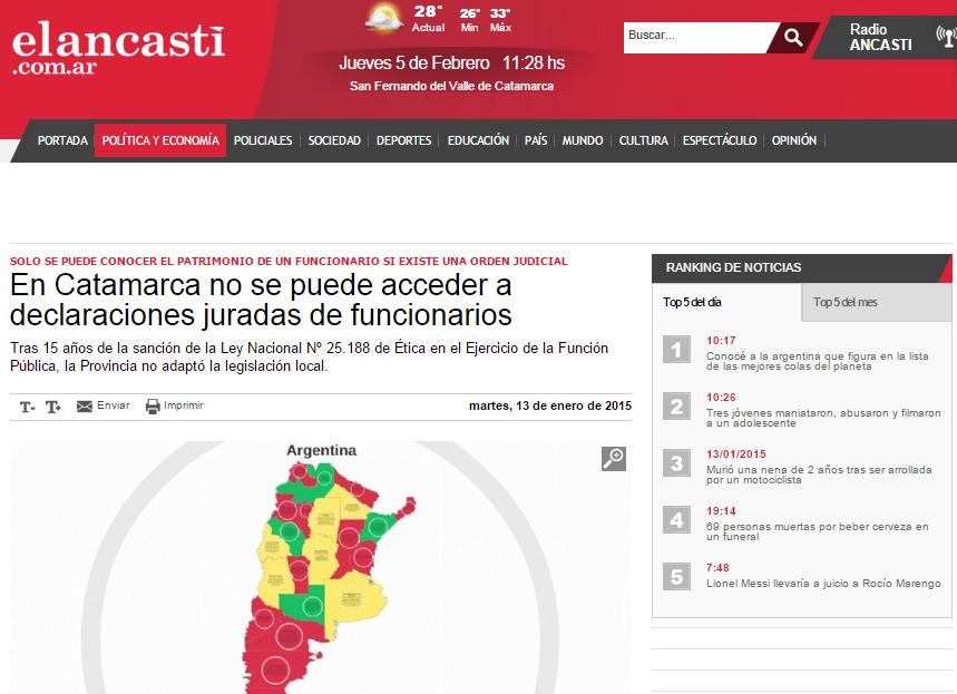 En Catamarca no se puede acceder a declaraciones juradas de funcionarios