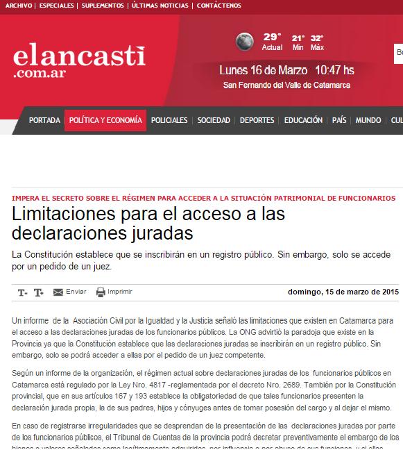 Limitaciones para el acceso a las declaraciones juradas