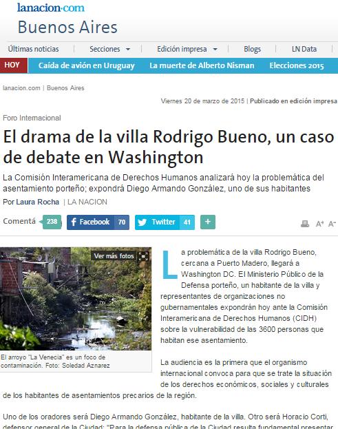 El drama de la villa Rodrigo Bueno, un caso de debate en Washington