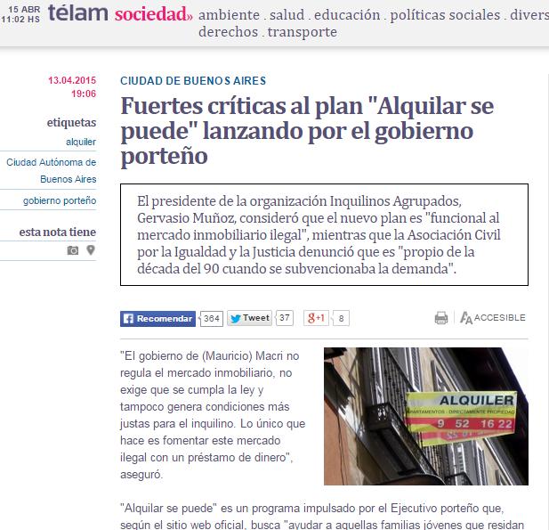 """Fuertes críticas al plan """"Alquilar se puede"""" lanzando por el gobierno porteño"""