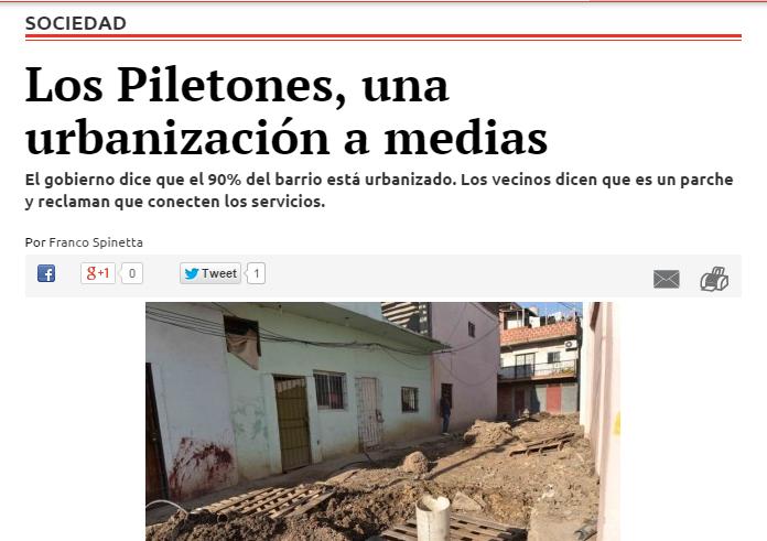 Los Piletones, una urbanización a medias