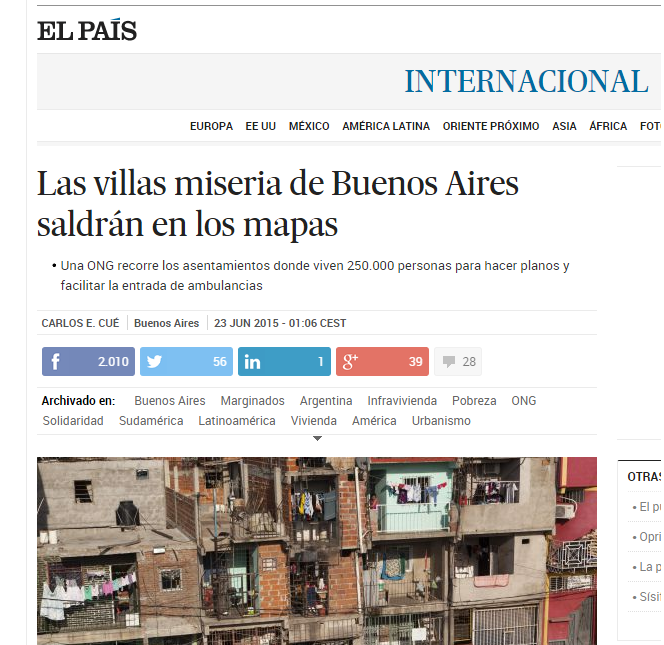 Las villas miseria de Buenos Aires saldrán en los mapas