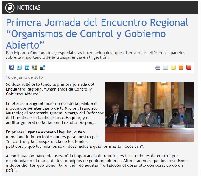 """Primera Jornada del Encuentro Regional """"Organismos de Control y Gobierno Abierto"""""""