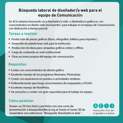 Búsqueda laboral: diseñador/a web para el equipo de Comunicación