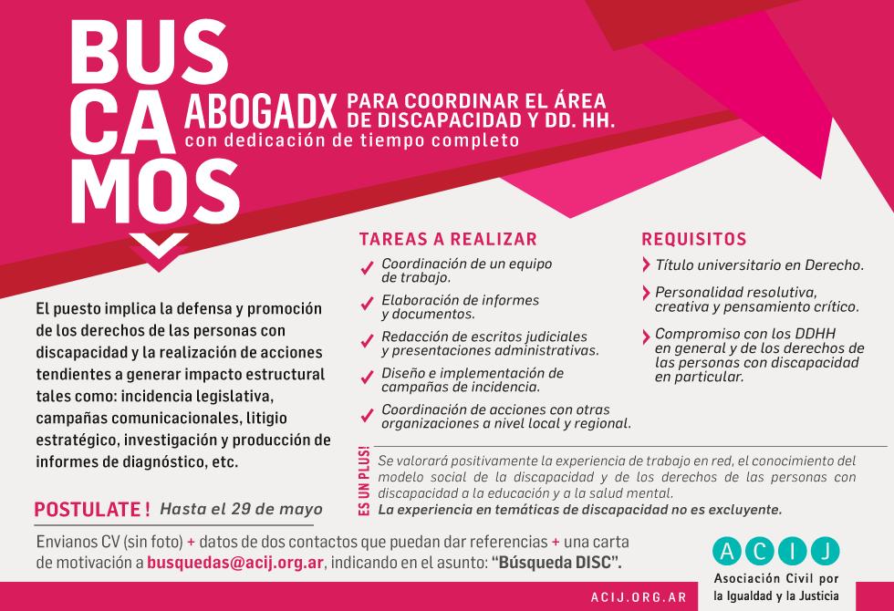 Búsqueda laboral: ABOGADO/A para el área de Discapacidad y Derechos Humanos, con dedicación de tiempo completo
