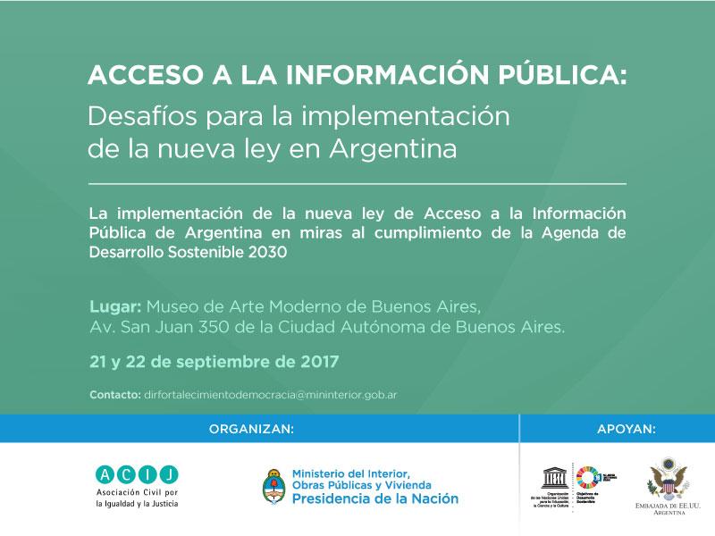 21 y 22/09: ACCESO A LA INFORMACIÓN PÚBLICA – Desafíos para la implementación de la nueva Ley