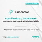 Buscamos coordinador/a para el programa Derechos Sociales de la Niñez