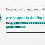 Exigimos información al GCBA sobre el preocupante desfinanciamiento de 370 millones de pesos del Plan Sarmiento BA
